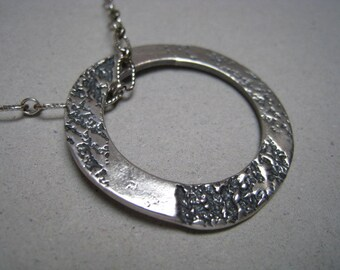 Organic Textured Hoop Oxidized Fine Silver Necklace - Organic Pendant - Hoop Pendant - Fine Silver Pendant - Textured Pendant