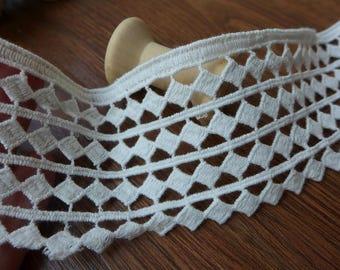 """Cotton Lace, Off white Lace Trim, Bridal Lace, Rhombus Cotton Lace, 2"""" wide 2 Yards"""