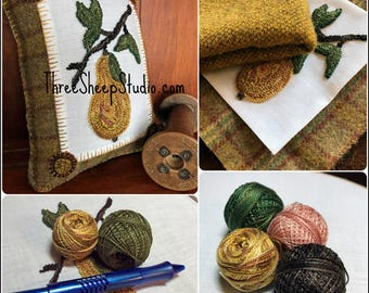 Punch Needle Pattern - Golden Pear - #PN562 - Needlepunch Embroidery