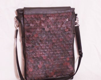 FREE SHIPPING! Leather messenger bag Crossbody bag Leather shoulder bag decorated with leather scales