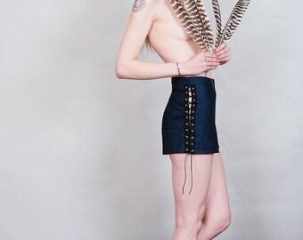 Trussed up - Lace up dark blue black denim shorts - boho festival