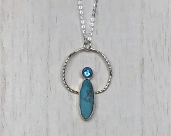 Turquoise and London Blue Topaz Sterling Silver Necklace