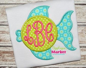 Monogrammed Beach Towel - Girl Fish Turtle Applique Bath Towel - Personalized - SAMPLE SALE