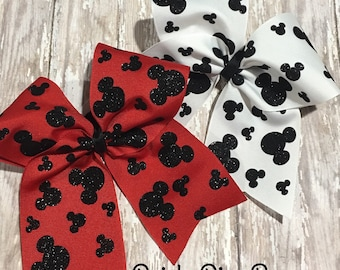 Disney Cheer Bow, Mickey Mouse, Mickey Head, Cheer Bow for Disney, Disney Gift, Gift for Cheerleader, Bow for Cheerleader, Disney Bow