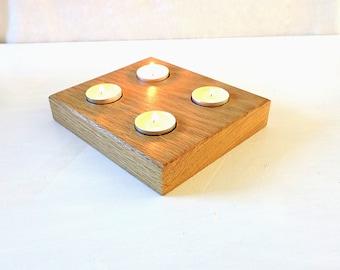 Solid oak 4 tea lights holder,wooden tea holder,simple candle holder,modern tealight holder,rustic tealigt holder,nordic style house