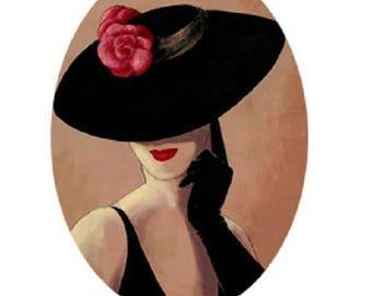 25x18mm, woman, Black Hat, red flower