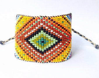 Huichol Inspired Rainbow Ojo de Dios Beaded Eye of God Statement Bracelet