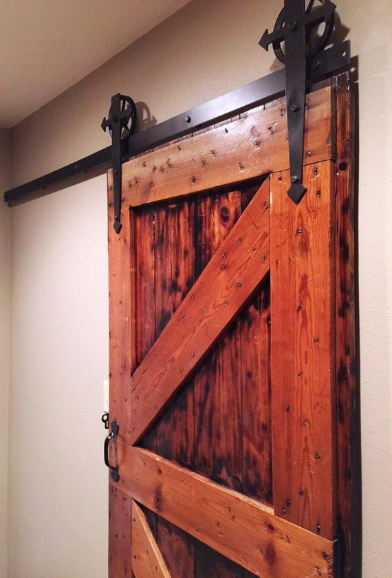 Arrow  t  Shaped Sliding Barn Door Hardware Set 6  Vintage Spoked Industrial Wheel Rollers Complete with 2  Track and all Mounting Hardware from ... & Arrow