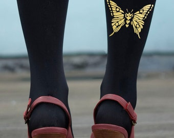 Butterfly Tights - Gold or Silver Butterfly Print