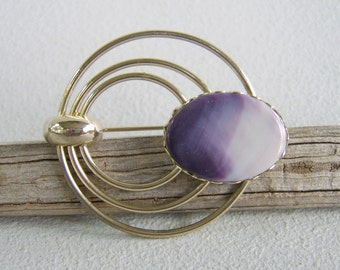 Vintage Modernist Silver Circle Brooch Violet Art Glass