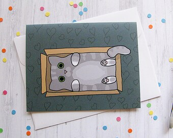 Cat in a Box Greeting Card Cat Card Funny Greeting Card Cute Note Cats in Boxes Silly Cat Lover Favorite Person Boyfriend Girlfriend