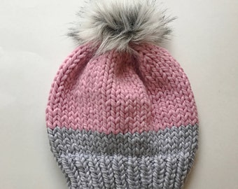 Two Toned Knit Hat // Chunky Hand Knitted Hat // Knit Hats // Knit Beanie // Chunky Knit // Two Colors
