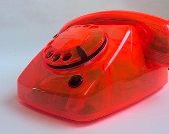 vintage retro neon transparant Dutch  PTT dial telephone  T65 TDK Delft, 1987, collectors item, CWP