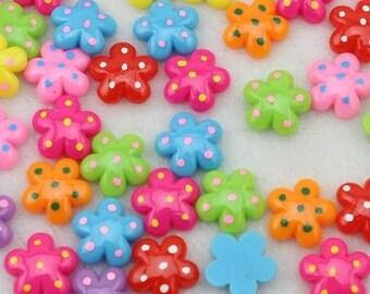 20 Piece Polka Dot Flower Cabochons - Kawaii Decoden Flatback Resin (TDK-C1408)