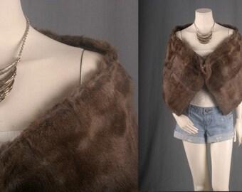 Fur shawl scarf thrown brown bohemian gypsy boho women OSFA
