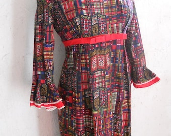 SALE 70s HIPPIE Plaid Calico Maxi Dress S-M