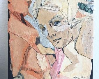 Vintage Paper Mache Portrait   Female Portrait Painting  Mixed Media