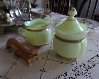 Victorian Tarentum-Georgia Gem-Lime/Yellow Custard Glass-Gold Beaded Trim-Sugar Bowl & Creamer Pitcher