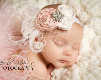 Vintage Baby Pink and Off White Silk Handrolled Rosette Headband with Curly ostrich feathers, french veiling and crystal detail