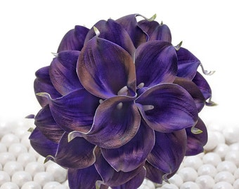 Royal Purple Wedding Bouquet - Two Dozen Real Touch Artificial Calla Lilies - Select Ribbon and Pin Colors