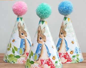 6 X Bunny Rabbit Bunny Children's Birthday Christening Party Wool Pom Pom Hat Blue Pink Mint Green
