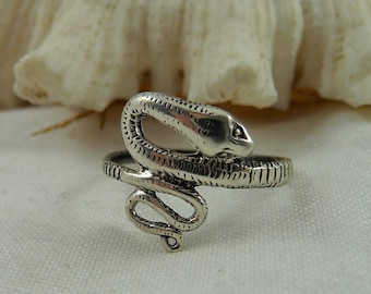 Small Dainty Snake Ring Sterling Silver, Coiled Snake Ring, Lightweight Sterling Snake Ring, Small Design Snake Ring, Sterling Pinky Ring