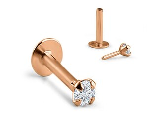 14K Solid Rose Gold Labret Style Nose Ring Monroe Stud Threadless Push Pin Post 1.5mm, 2mm, 2.5mm, 3mm Genuine Diamond 18G