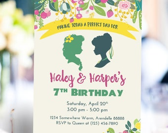 Frozen Fever Elsa and Anna Birthday Invitation | Floral Party Invitation | Twin Girl Invitation | Sister Joint Party Printable Digital