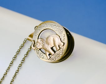 Elephant Locket, Vintage Brass Locket Necklace, Secret Locket, Antique Locket, Gift for Her,