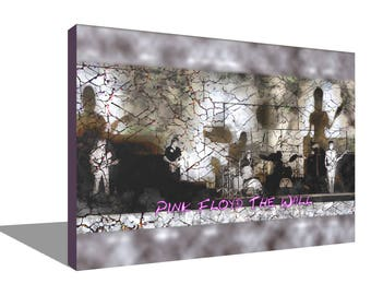 Pink Floyd Performing The Wall 100% Cotton Canvas Print Using UV Archival Inks Stretched & Mounted