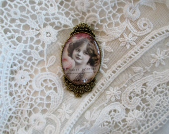 French Carte Postale jewelry, Victorian Cameo, Ephemera,Boho,  Inspired Gift giving ready, for her, Boho, French Shabby Chic,
