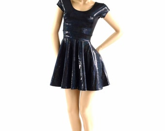 Black Metallic Holographic Skater Dress with Cap sleeves Fit & Flare Spandex Dress 153936