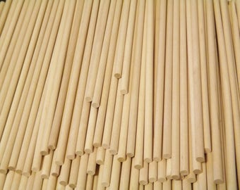 "100 ct 1/4"" x 9"" Birch Wooden Dowels for Wood Crafts, Cake Tiers, Lollipops"