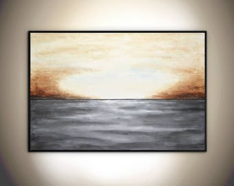 Landscape painting original abstract painting large painting gray brown seascape horizon abstract art oil painting 24x36 by L.Beiboer