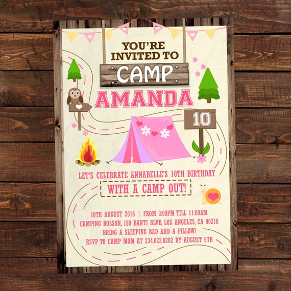 Camping Theme Invitations: Printable Camping Party Invitations For Girls Summer Camp