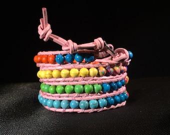 Pink Leather 4-Wrap Rainbow Power Stone Beaded Wrap Bracelet