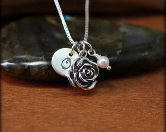 Sterling silver rose necklace, initial disk jewelry,  personalized jewelry, birthstone