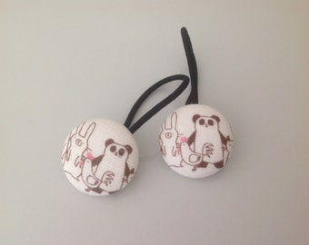 Panda and chicken and bunny hair ties, panda and bunny fabric covered button hair tie pair