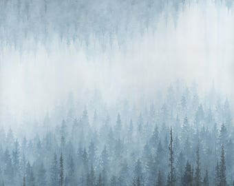 Canvas or Wood Print - Misty Blue Forest Nature Art Print for Meditation and Healing  11x14  16x20  20x24, Unframed