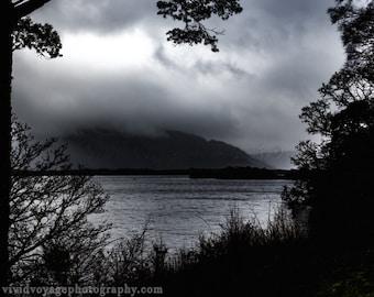 Lake Photograph, Landscape Art, Stormy Sky Photo, Ring Of Kerry, Nature Photography, Tree Art Print, Dramatic Landscape, Ireland Photography
