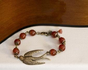 Paradise Bird Charm Bracelet, Friendship Bracelet Cuff, red Agate, Brass Swallow, Wedding Jewelry, Gift