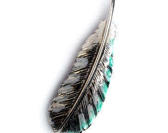 Silver Handpainted Woodpecker Feather Necklace, Woodpecker Feather Necklace, Woodpecker Necklace, Feather Necklace