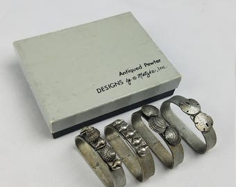 Vintage Metzke pewter nautical seashell napkin rings holders w/box set of 4