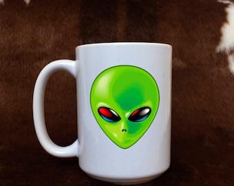 Alien mug, monster coffee mug, green alien, coffee lovers, gift for him, gift item,