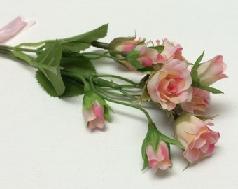 Blue forget me not flower spray artificial flowers silk tiny pink and cream rose buds artificial flowers silk flowers flower crown mightylinksfo Image collections