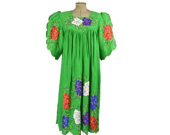 Vintage Mexican Style Dress Plus Size Embroidered Scalloped Hem Made In Thailand