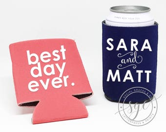 Foam Can Coolers | Personalized Can Coolies | Monogram Beer Sleeves | Wedding Drink Holder | Best Day Ever Bride Groom Party Favors