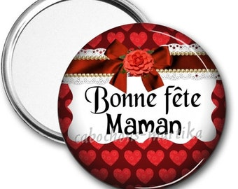 Personalized MOM, Pocket mirror, mirror mirror, 75 mm mother's day
