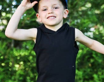 Tank top for baby and child in cotton/spandex black hooded