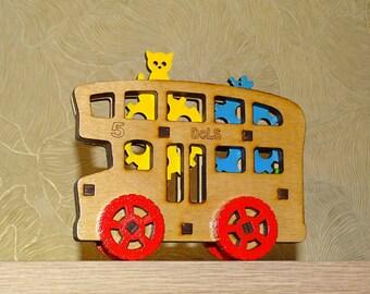 Bus. London bus. Wooden toy. Doubledecker. Wooden Bus.